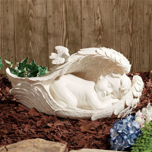 On Angels Wings Sculpture Soft Ivory