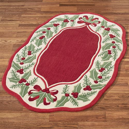 Holly Wreath Oval Rug Red 36 x 56