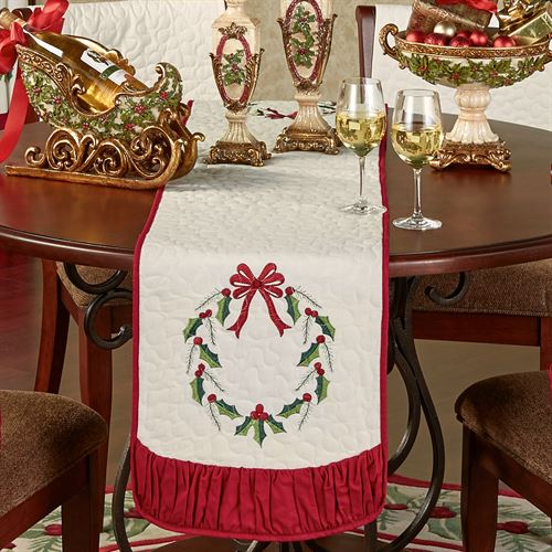 Holly Wreath Table Runner Ivory 14 x 72