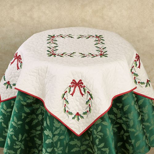 Holly Wreath Table Topper Ivory 42 Square
