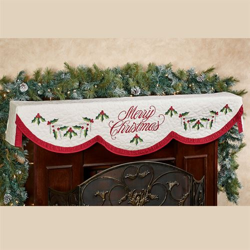 Holly Wreath Mantel Scarf Ivory 20 x 72