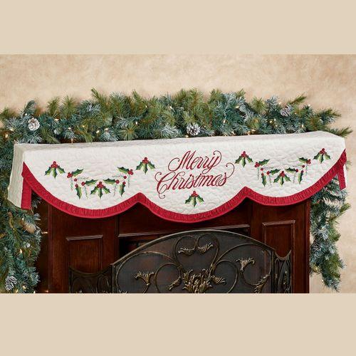 Holly Wreath Mantel Scarf Ivory 20 x 72