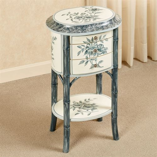 Bleu Bamboo Petite Side Table Museum White