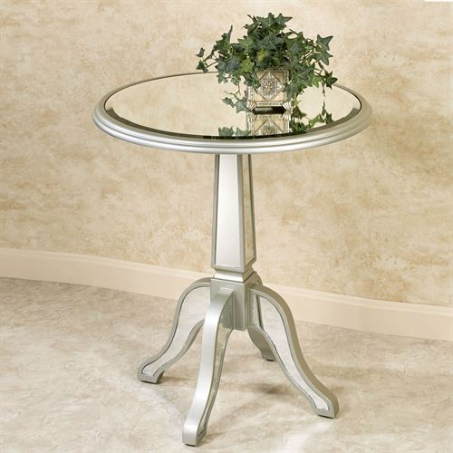 Bila Mirrored Pedestal Table Silver Gray