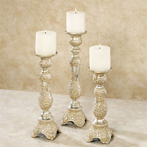 Polianna Candleholders Silver Set of Three