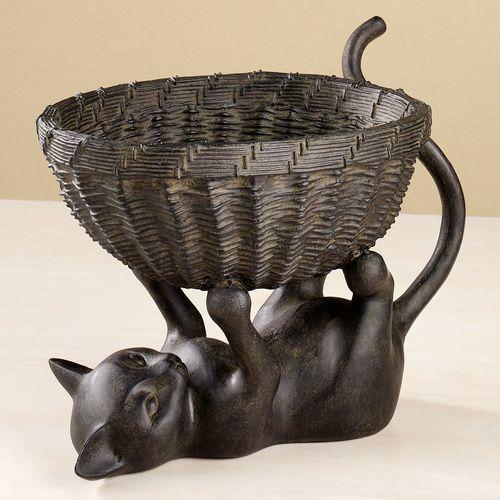 Kitten with Basket Sculpture Bronze
