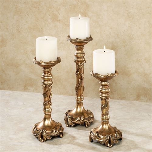 Vina Elegante Candleholders Gold Set of Three