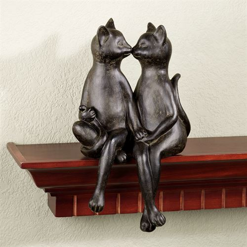 Kissing Cats Bronze Finish Shelf Sitter