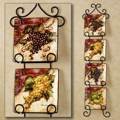 Wine Cellar Square Dessert Plate Set