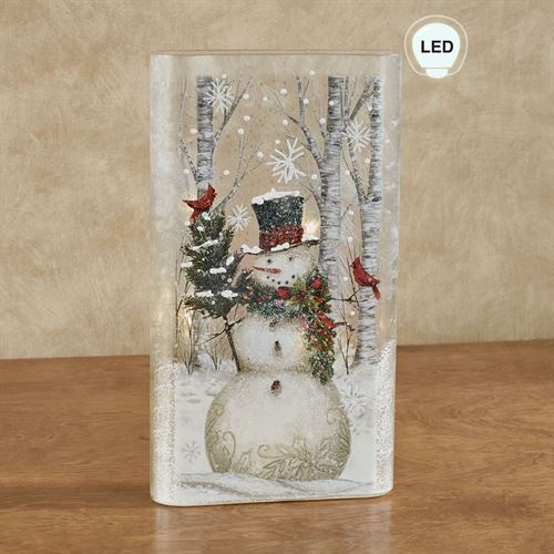Snowman Lighted Flat Vase Multi Cool
