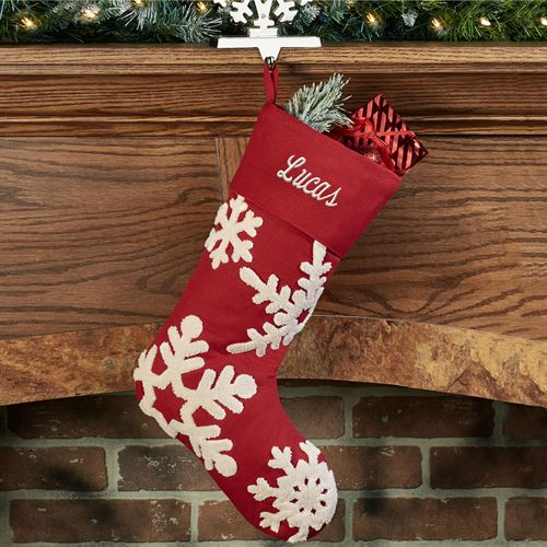 Simply Snowflakes Christmas Stocking Red