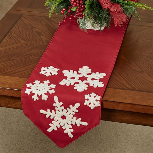 Simply Snowflakes Table Runner Red 13 x 72