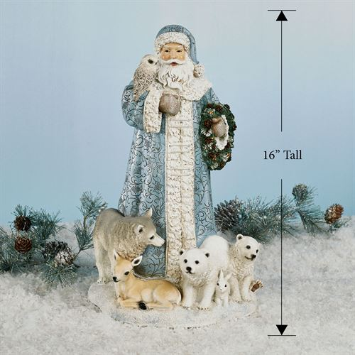 Santa with Furry Friends Figurine Multi Cool