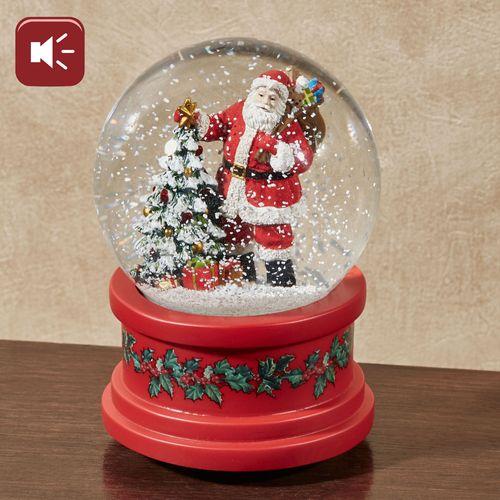Musical Santa Glitterdome Red