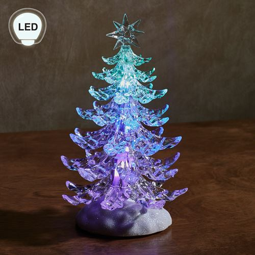 tricolor lighted christmas tree figurine clear