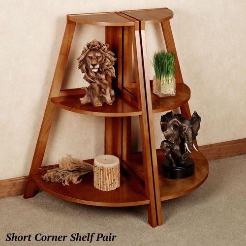 Kimber Short Corner Shelf Pair Mission Red Oak Three Tier