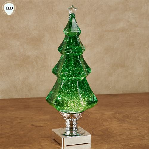 Swirl Lighted Christmas Tree Table Accent Green