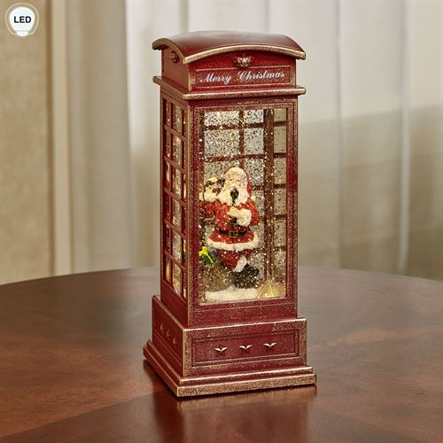 Swirl Lighted Phone Booth Figurine Red