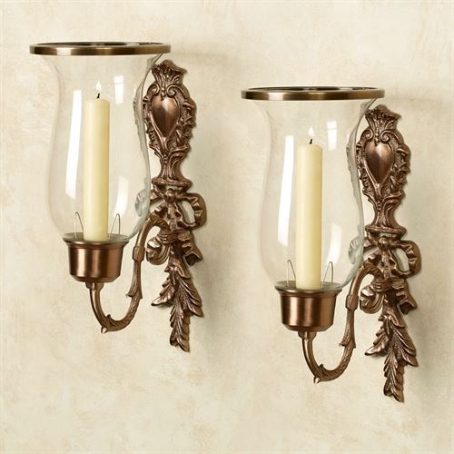 Nerissa Single Taper Sconces Champagne Bronze Pair