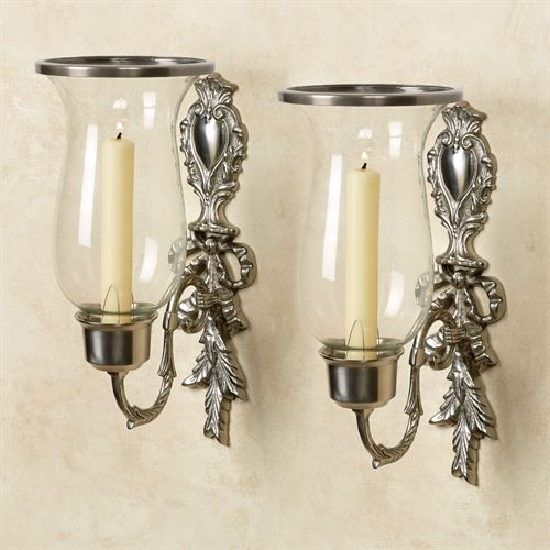 Nerissa Single Taper Sconces Satin Nickel Pair