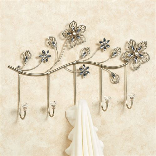 Rosianna Floral Wall Hook Rack Champagne Gold