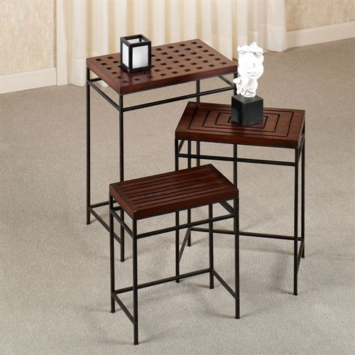 Wagner Nesting Table Set Rich Mahogany Set of Three