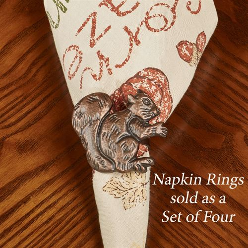 Squirrel Napkin Rings Antique Copper Set of Four