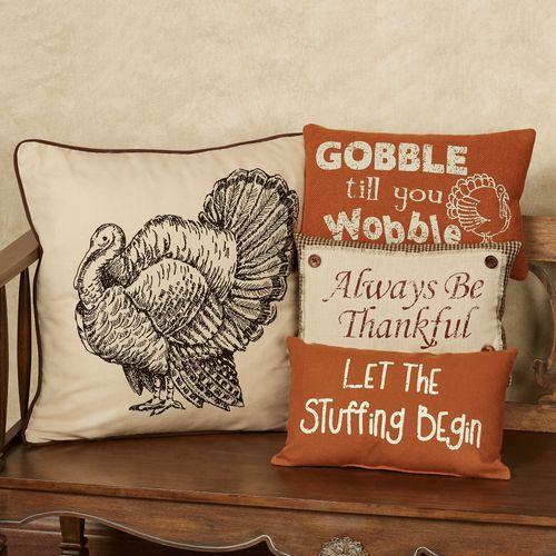Gobble Wobble Rectangle Accent Pillow Terra Cotta