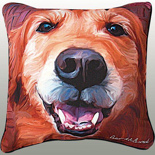 Golden Retriever Pillow Multi Warm 18 Square
