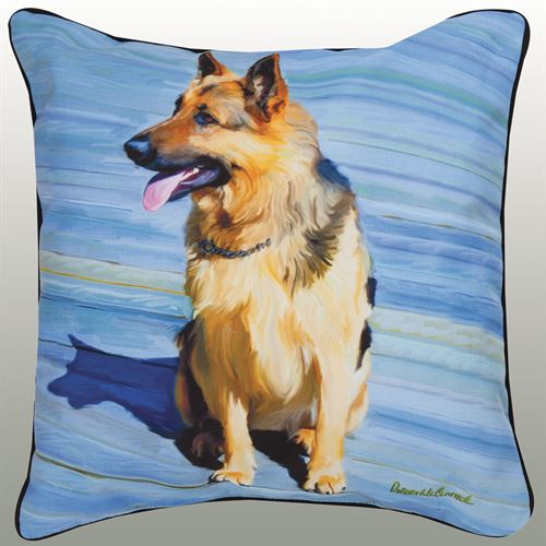 German Shepherd Pillow Multi Warm 18 Square