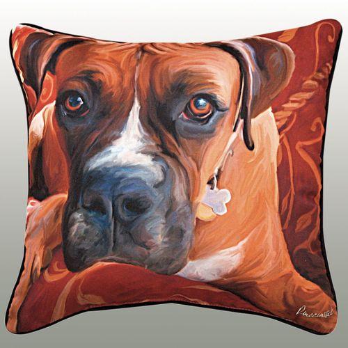Harry Boxer Pillow Multi Warm 18 Square