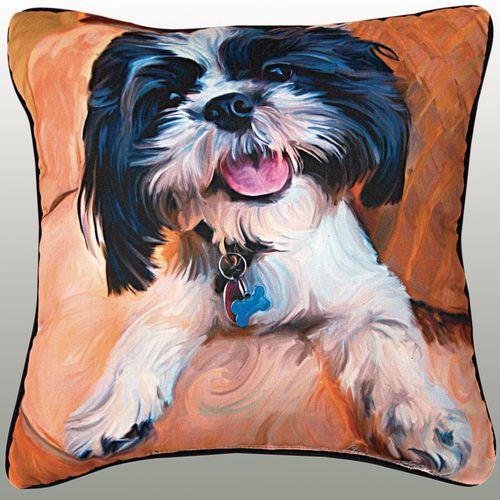Shih Tzu Baby Pillow Multi Warm 18 Square