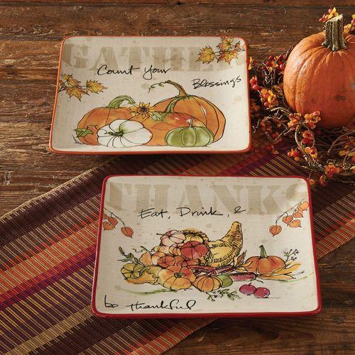 Autumn Splendor Plates Ivory Set of Two