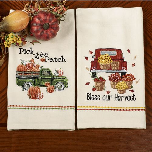 Fall Harvest Embroidered Kitchen Dish Towel Set
