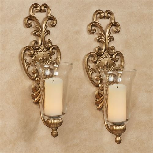 Asciano Wall Sconce Pair Aged Gold