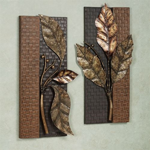 Somber Leaves Wall Panel Set Antique Gold Set of Two