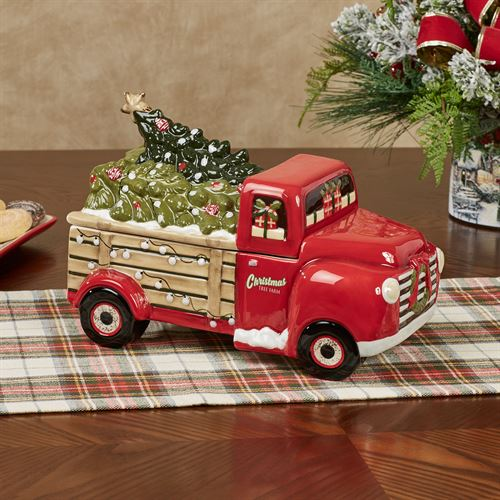 Over the River Holiday Truck Cookie Jar Red