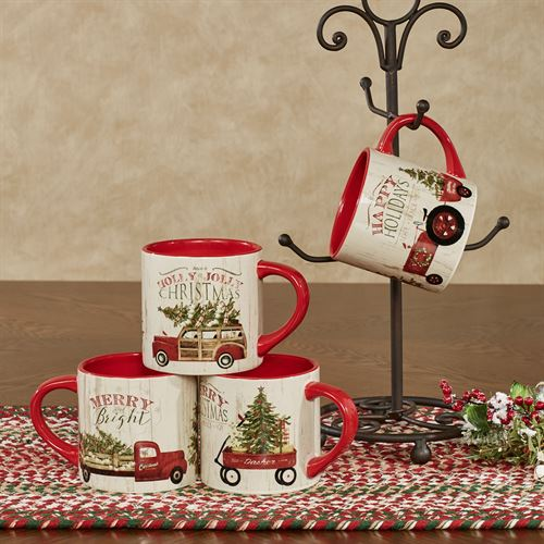 Over the River Holiday Mugs Red Set of Four