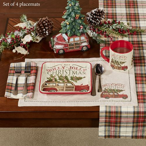 Over the River Holiday Placemats Red Set of Four