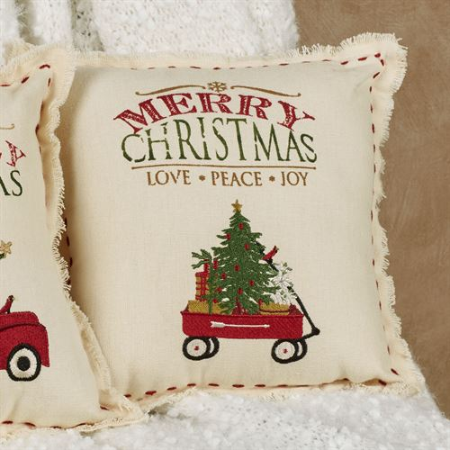 Wagon Holiday Accent Pillow Red