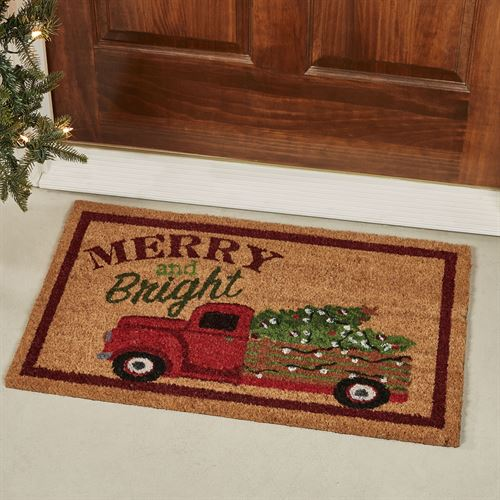 Over the River Holiday Doormat Red