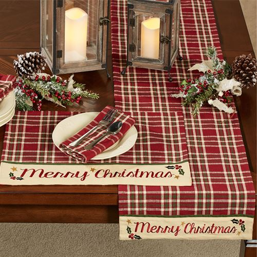 merry christmas table runner cranberry 13 x 54 - Christmas Plaid Table Runner
