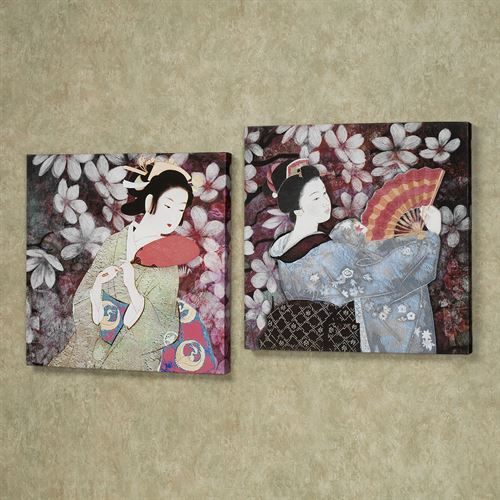 Geisha Gardens Canvas Wall Art Set Multi Jewel Set of Two