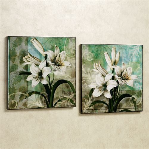 Youth and Innocence Lily Wall Art Set White Set of Two