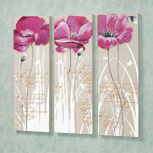 Poppy Blossoms Canvas Wall Art Set Pink Set of Three