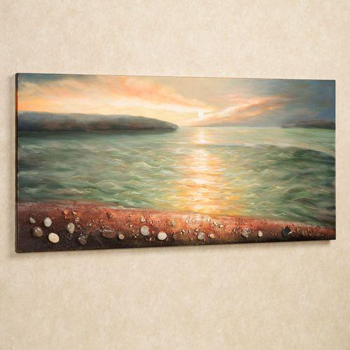 Sunrise on Pebble Beach Canvas Wall Art Multi Earth
