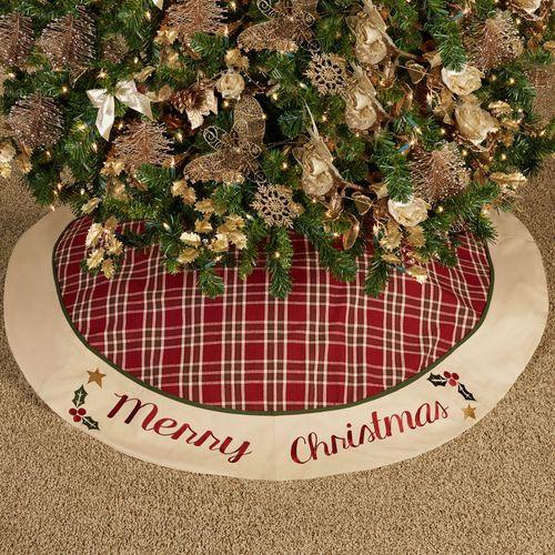 Merry Christmas Tree Skirt Cranberry