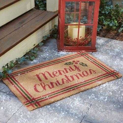 Merry Christmas Doormat Cranberry