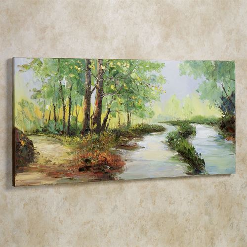 Summer Stream Canvas Wall Art Green