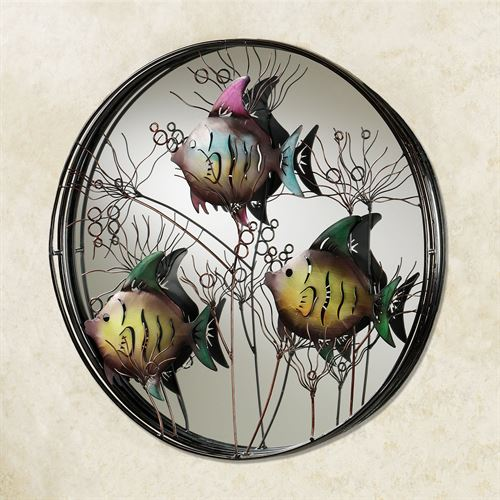 Trio of Fish Mirrored Metal Wall Art Multi Cool